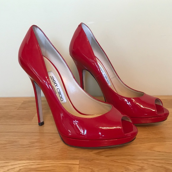 03fa1239037 Jimmy Choo Quiet patent leather red peep toe pump